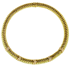 BULGARI Spiga Diamond 18k Yellow Gold Necklace