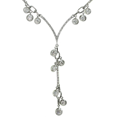 STEFAN HAFNER Chandelier Lariat Diamond 18k White Gold Necklace