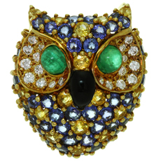 VAN CLEEF & ARPELS Diamonds Sapphire Emerald Enamel 18k Yellow Gold Owl Brooch