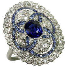 Art-Deco Hand-Crafted Diamond Blue Sapphire Platinum Ring 1930s