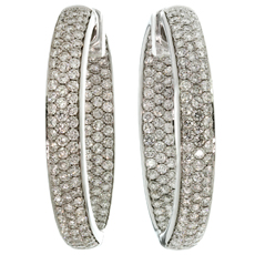 Diamond 18k White Gold Inside Out Hoop Earrings