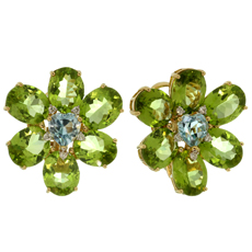 Peridot Aquamarine Heart Diamond 18k Yellow Gold Flower Earrings