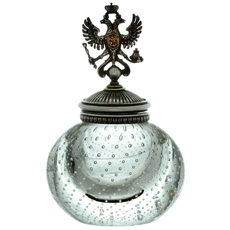 Julius Rappoport Antique Russian Imperial Double Eagle Sterling Silver Glass Inkwell