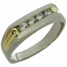 Diamond Platinum 18k Yellow Gold Men's Band Ring