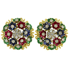 Fine Italian Diamond Ruby Emerald Sapphire 18k Yellow Gold Earrings