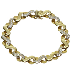 Diamond 14k Yellow Gold Link Bracelet