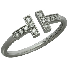 TIFFANY & CO. T Wire Diamond 18k White Gold Ring