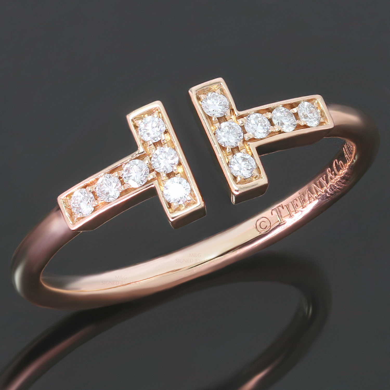 Tiffany Co T Wire Diamond 18k Rose Gold Ring Mtsj12796