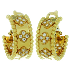VAN CLEEF & ARPELS Perlée Clover Diamond 18k Yellow Gold Hoop Earrings