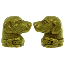 KIESELSTEIN-CORD 18k Yellow Gold Labrador Dog Cufflinks