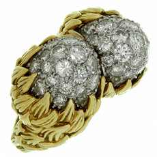 TIFFANY & CO. Diamond Yellow Gold Platinum Double Acorn Ring