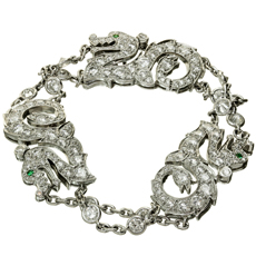 CARTIER Diamond Emerald 18k White Gold Dragon Bracelet