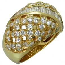 TIFFANY & CO. Vannerie Diamond 18k Yellow Gold Ring