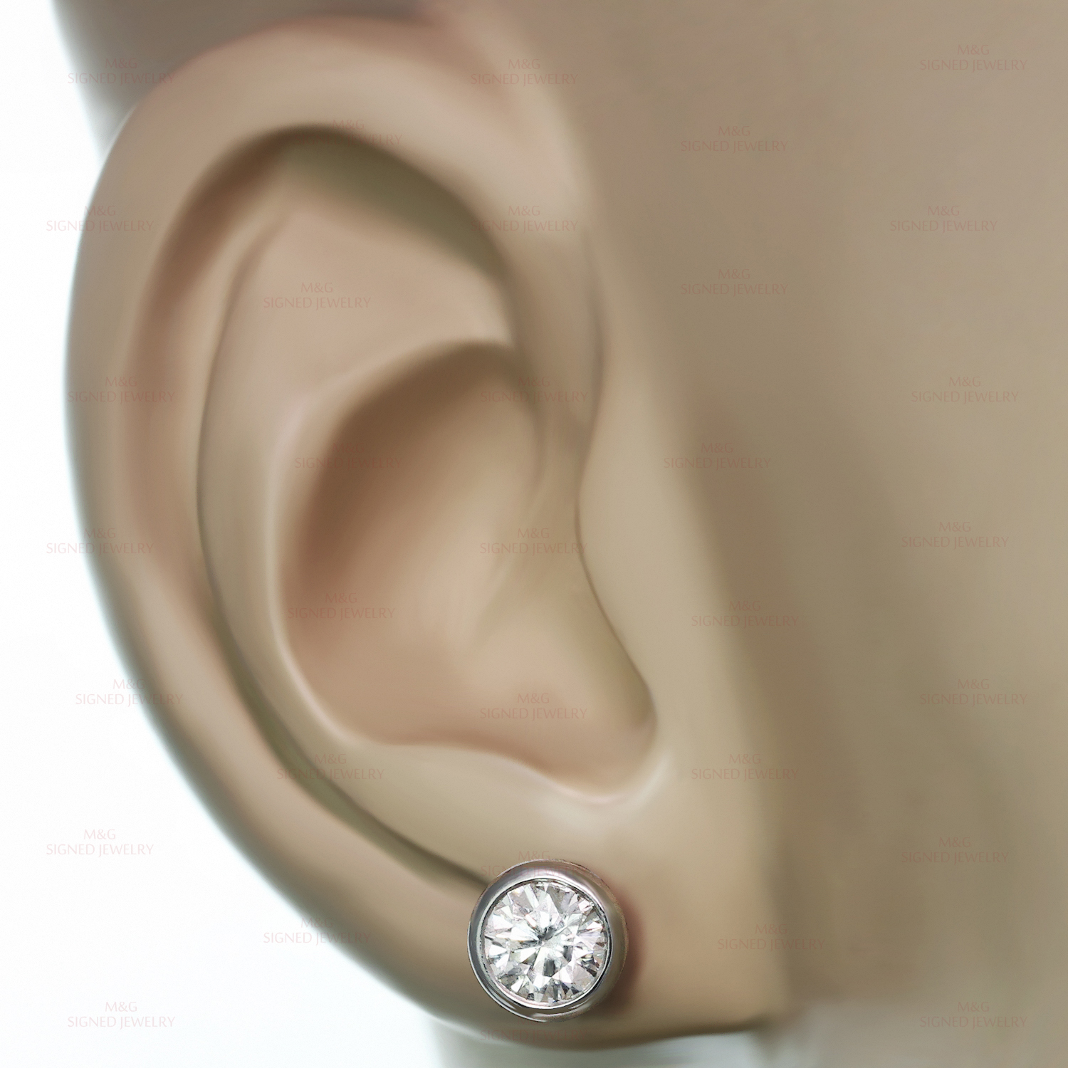 4514493fe TIFFANY & CO. Elsa Peretti Diamonds by the Yard 18k White Gold Stud Earrings