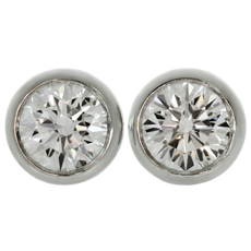 TIFFANY & CO. Elsa Peretti Diamonds by the Yard 18k White Gold Stud Earrings