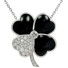 VAN CLEEF & ARPELS Cosmos Large Onyx Diamond White Gold Brooch Pendant Necklace