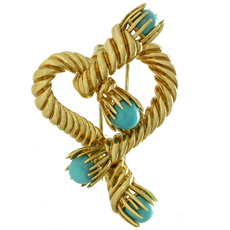 TIFFANY & CO. Schlumberger Turquoise 18k Yellow Gold Heart Brooch