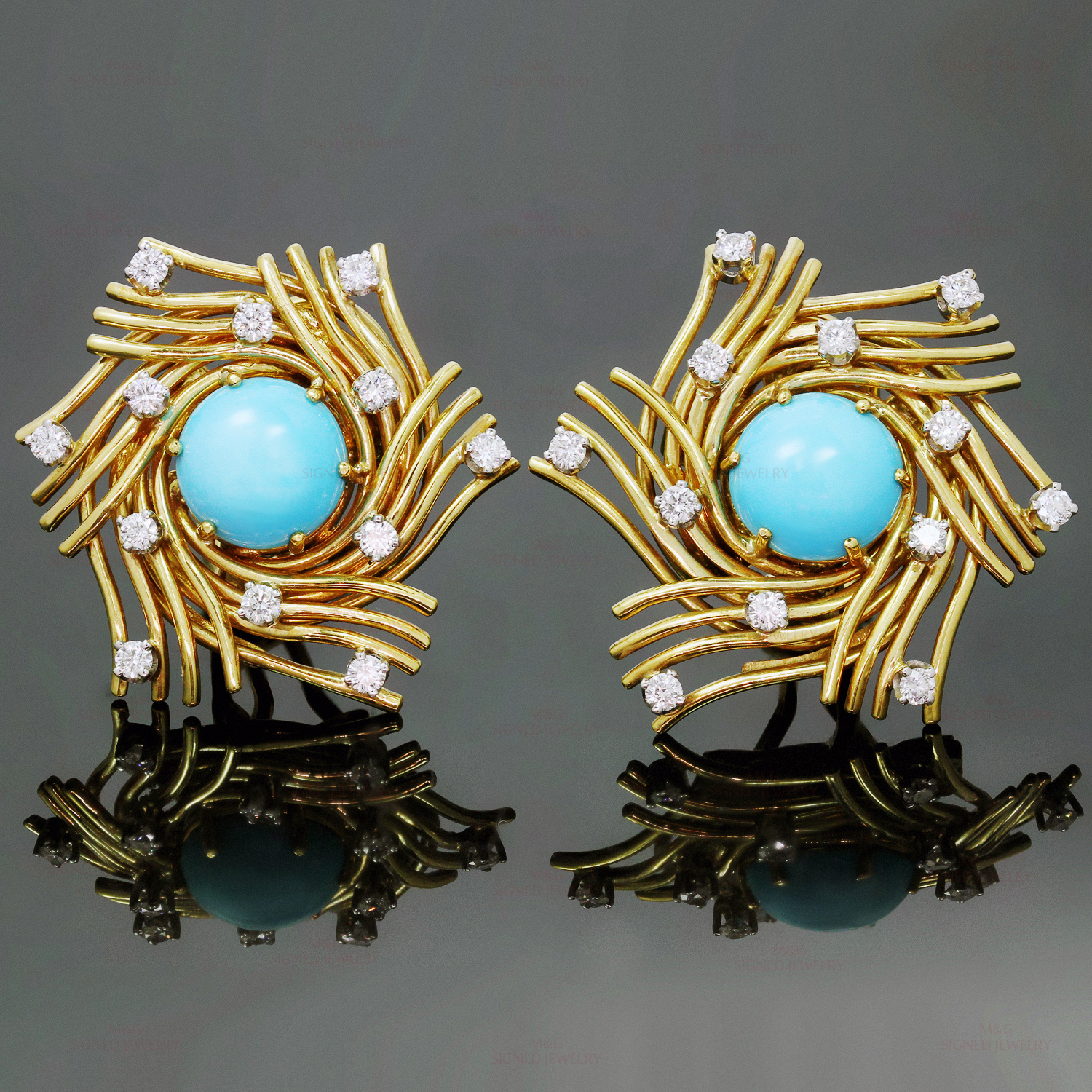 TIFFANY & CO. Diamond Turquoise Platinum 18k Yellow Gold Clip-on Earrings