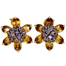 VAN CLEEF & ARPELS Hawaii Citrine Sapphire 18k Yellow Gold Flower Earrings