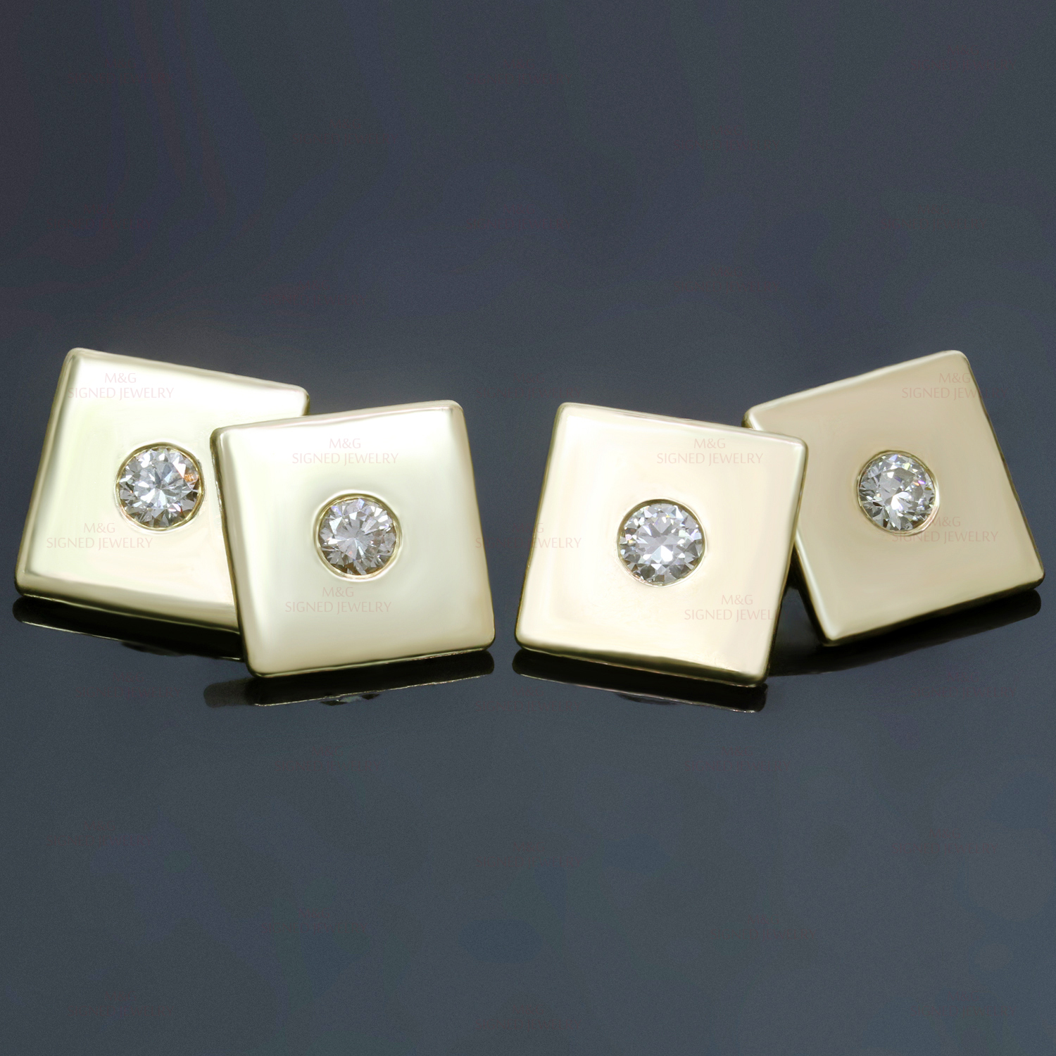 TIFFANY & CO. 1940s Diamond 14k Yellow Gold Square Cufflinks