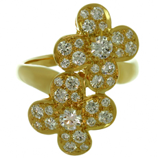 VAN CLEEF & ARPELS Double Trefle Diamond 18k Yellow Gold Clover Flower Ring