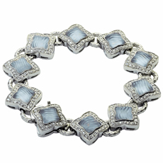 DAVID YURMAN Diamond Blue Chalcedony 18k White Gold Quatrefoil Bracelet