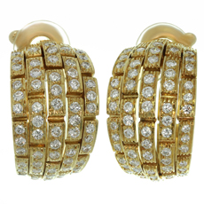 Panthere De CARTIER Diamond 18k Yellow Gold Wrap Earrings