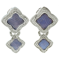 DAVID YURMAN 18k White Gold Carved Chalcedony Quatrefoil & Diamonds Earrings