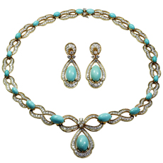 ASPREY 1970s Diamond Turquoise 18k Yellow Gold Necklace & Earrings Set