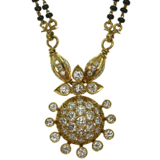 MANGALSUTRA Diamond Onyx Bead 22k Gold Indian Bridal Handmade Necklace