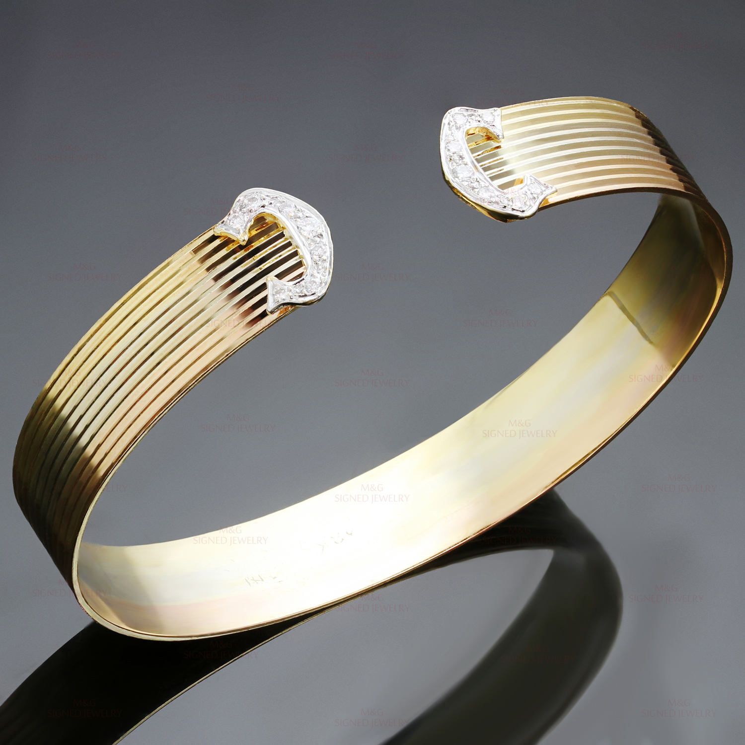 Vintage Diamond 18K Tri Color Gold C Trinity Cuff Bracelet