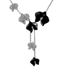 CARTIER Caresse D'Orchidees Diamond Onyx 18k White Gold Necklace