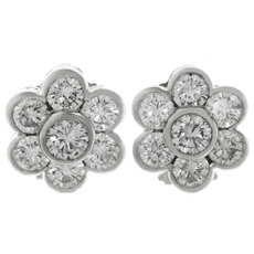 VAN CLEEF & ARPELS Diamond Platinum Flower Earrings