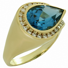Deep Blue Tourmaline Diamond 14k Yellow Gold Ring