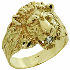 Vintage Diamond 14k Yellow Gold Lion Mens Ring