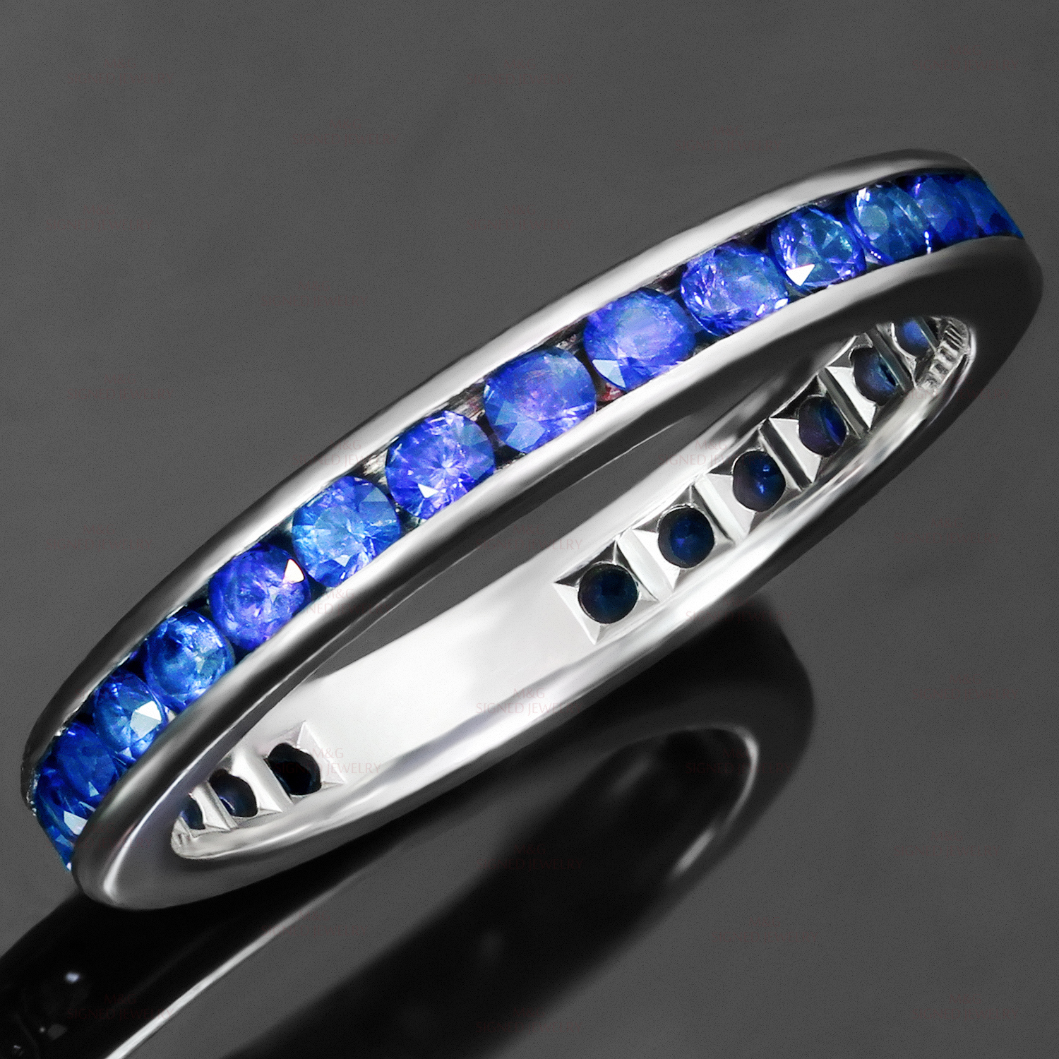 TIFFANY & CO. Blue Sapphire Platinum Band Ring