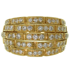 CARTIER Maillon Panthère 5 Row Pave Diamond 18k Yellow Gold Bombe Ring 56