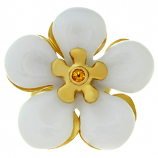 CHRISTIAN DIOR White Jade Sapphire 18k Yellow Gold Flower Ring 50