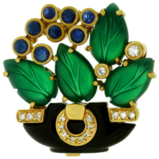 CARTIER Les Indes Galantes Agate Onyx Sapphire Diamond 18k Yellow Gold Floral Brooch