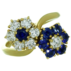 VAN CLEEF & ARPELS Fleurette Diamond Blue Sapphire 18k Yellow Gold Double Flower Ring