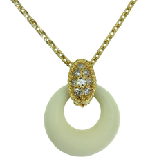 VAN CLEEF & ARPELS White Coral Diamond 18k Yellow Gold Pendant Necklace