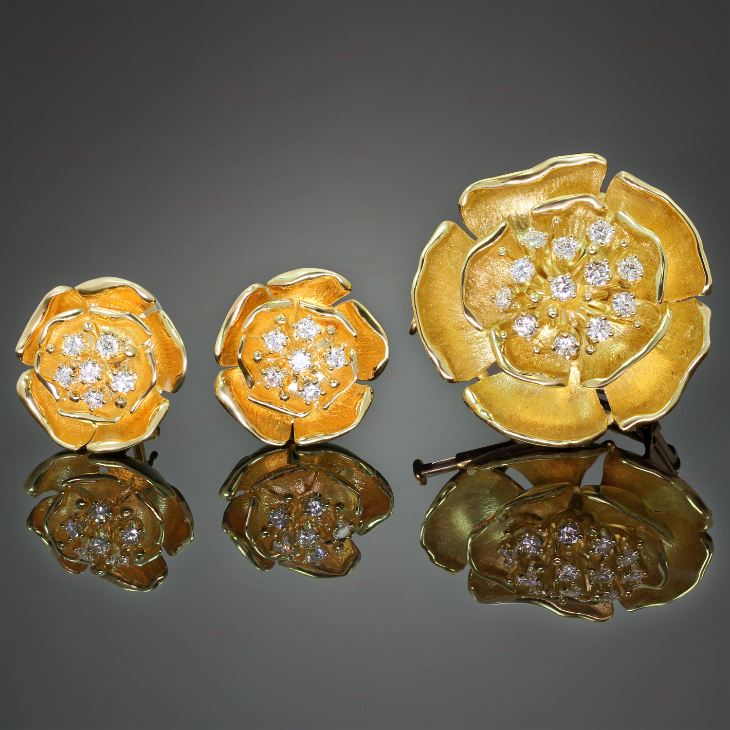 PIAGET Diamond 18k Yellow Gold Flower Earrings & Brooch Pendant Set