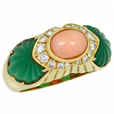 CARTIER Diamond Green Rhodochrosite Pink Coral 18k Yellow Gold Ring Size 53