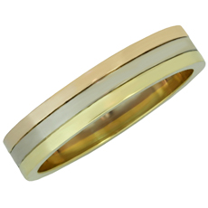 CARTIER Trinity 18k Yellow White Rose Gold Men's Wedding Band