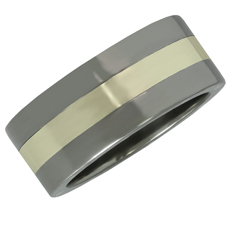 Stanless Steel 10k White Gold Mens Band Ring