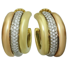 CARTIER Diamond 18k Tri-Color Gold Large Earrings