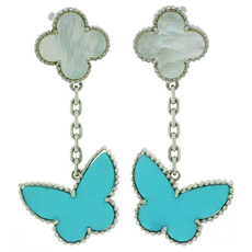VAN CLEEF & ARPELS Lucky Alhambra Turquoise MOP White Gold Butterfly Earrings