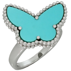 VAN CLEEF & ARPELS Lucky Alhambra Turquoise 18k White Gold Butterfly Ring