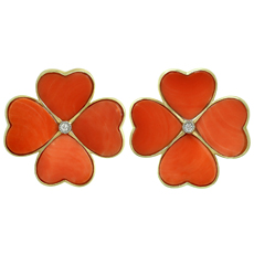 Natural Red Coral 18k Yellow Gold Large 4 Leaf Clover Flower Earrings