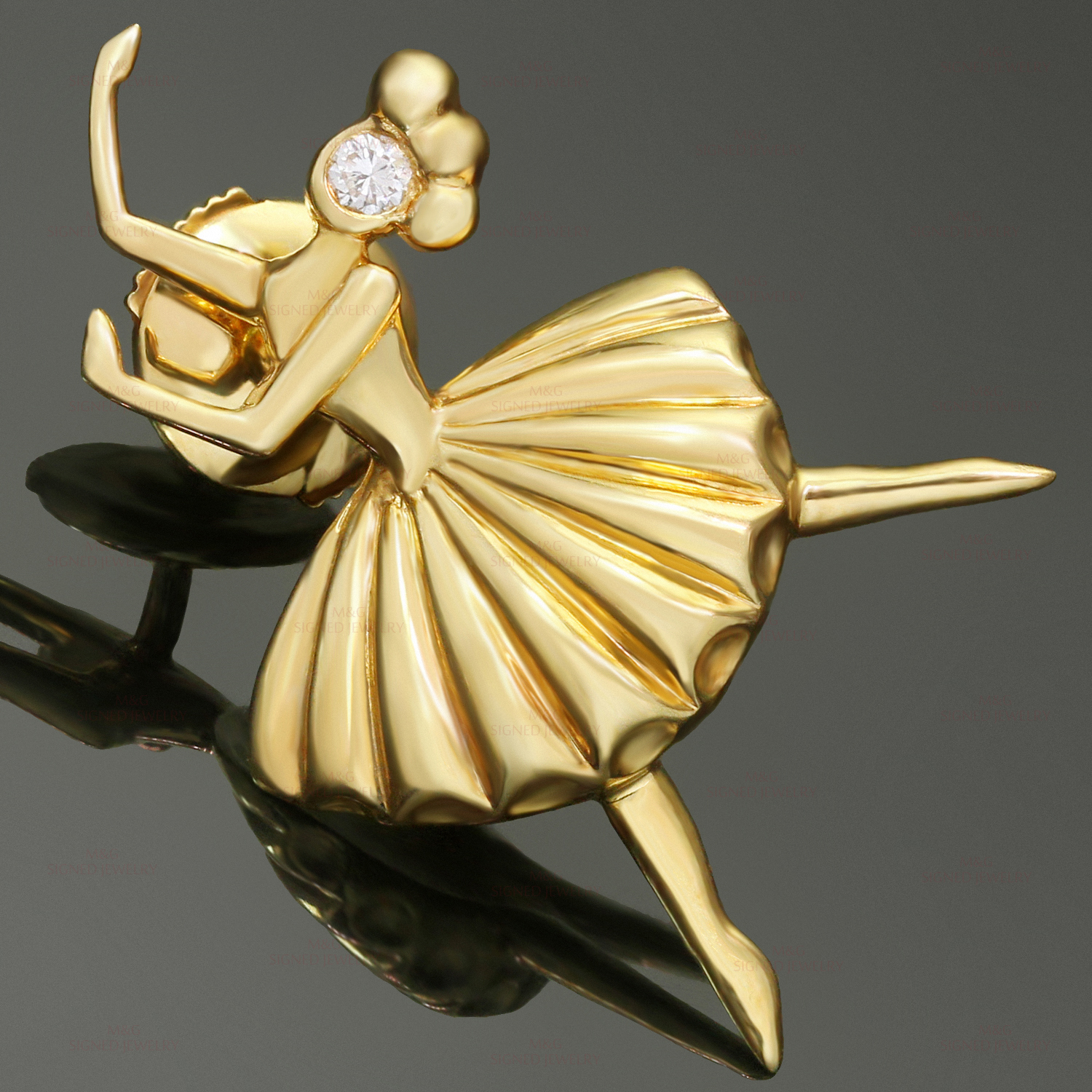VAN CLEEF & ARPELS Diamond 18k Yellow Gold Ballerina Pin Brooch